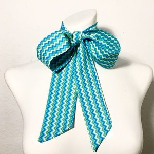 Vintage Long Zig Zag Patterned Scarf Tie or Sash